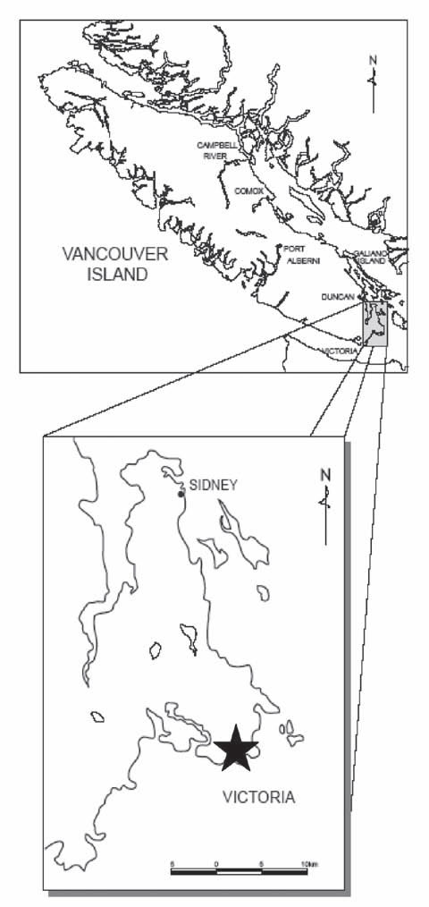 Map showing the Canadian distribution of Oregon Lupine