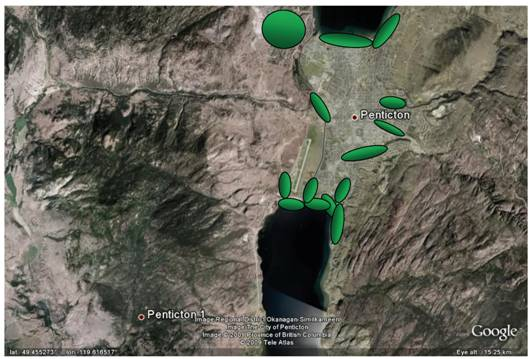 Satellite image of Penticton and area showing locations where searches were made for Cicindela parowana wallisi during the preparation of this report.