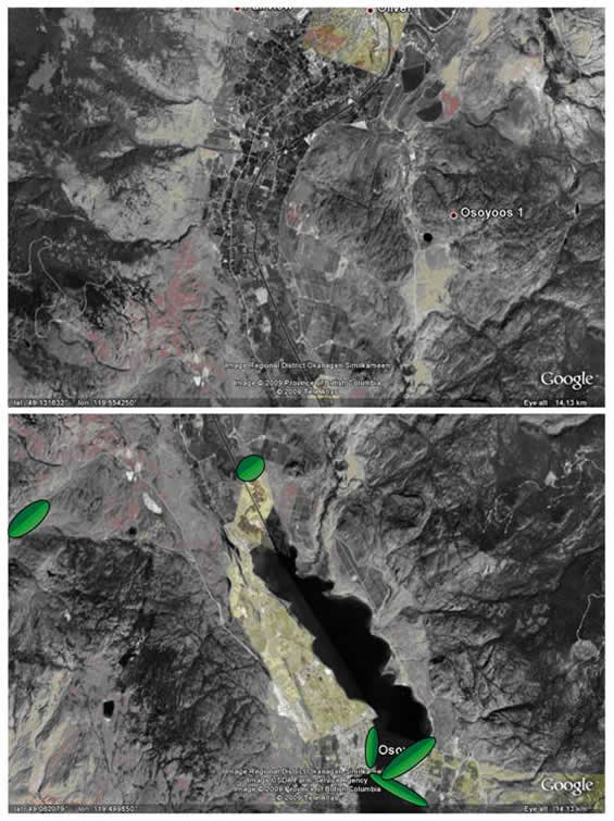 Satellite image of Osoyoos and area showing locations where searches were made for Cicindela parowana wallisi during the preparation of this report.