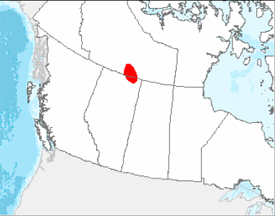 Figure 1. Known breeding distribution of the Whooping Crane (Grus americana) in Canada. (See long description below)