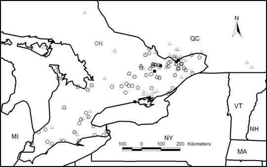 Map showing the locations of searches for non-targeted lichens and known populations of Physconia subpallida (historical and extant) in southern Ontario and southern Quebec.