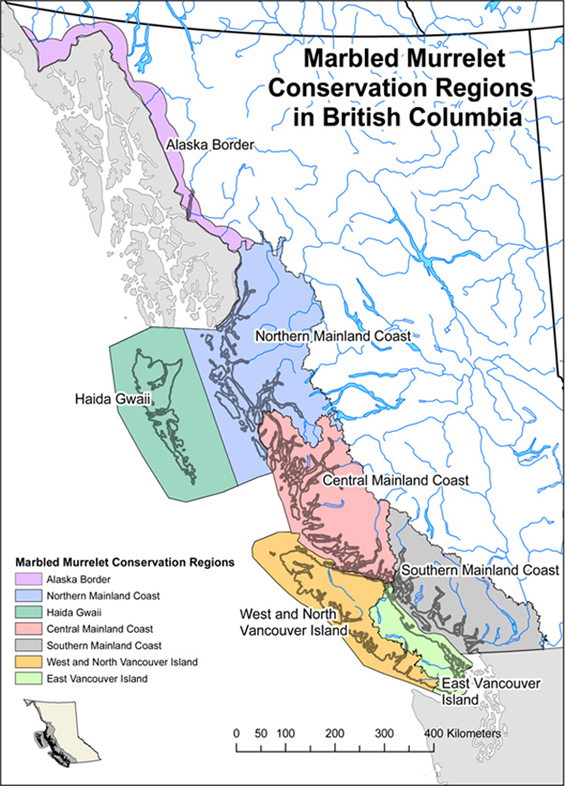 Figure 2. Map of the seven conservation regions recognized by the Marbled Murrelet Recovery Team in B.C. Map provided by M. Mather and L. Sinclair (B.C. Ministry of Forests, Lands and Natural Resource Operations, Nanaimo, BC). (See long description below)
