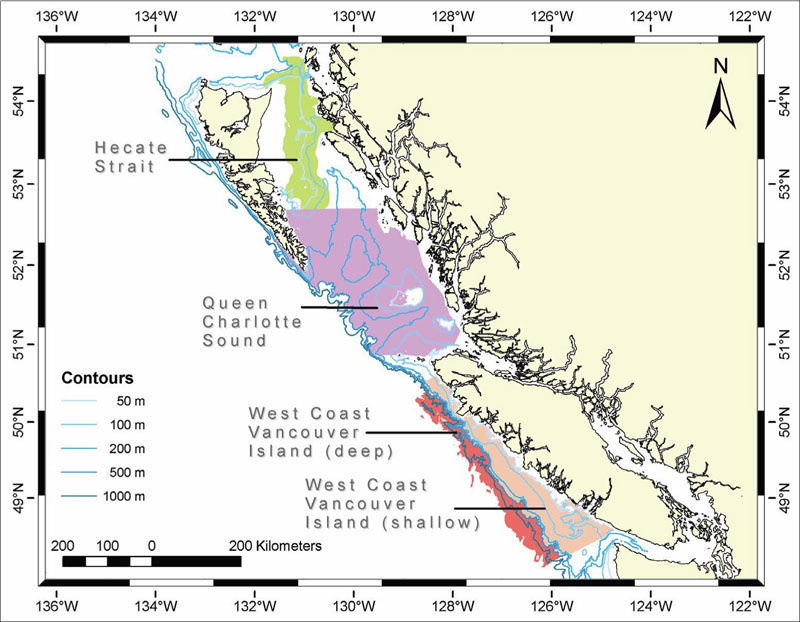 Map showing trawl survey areas for the Outside area.