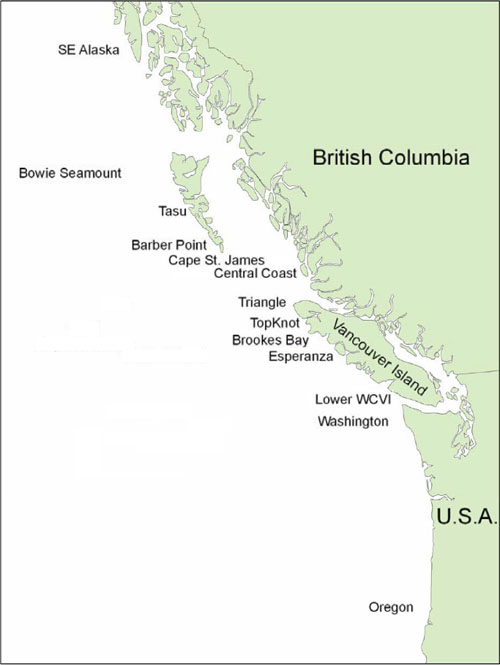 Map showing Yelloweye Rockfish sampling locations (see long description below).
