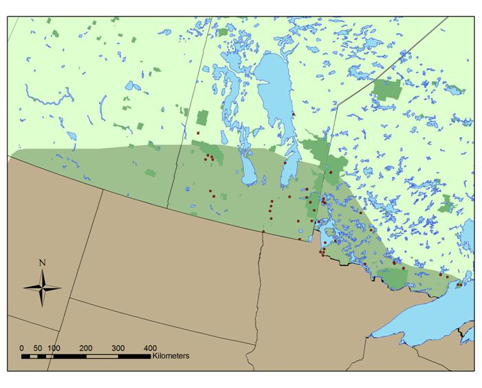 Map showing the distribution of the Snapping Turtle in northwestern Ontario, Manitoba and Saskatchewan.
