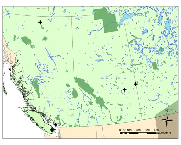 Map showing the distribution of the Snapping Turtle in Alberta and British Columbia.