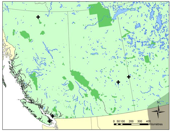 Carte montrant la répartition de la tortue serpentine en Alberta et en Colombie-Britannique.