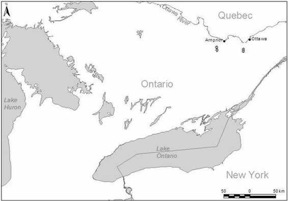 Map showing the distribution of the Bogbean Buckmoth in Canada.