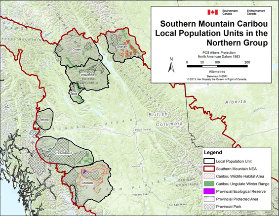 Figure B-1. Southern Mountain Caribou - Local Population Units in the Northern Group. (See long description below)