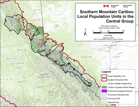 Figure B-2. Southern Mountain Caribou - Local Population Units in the Central Group. (See long description below)