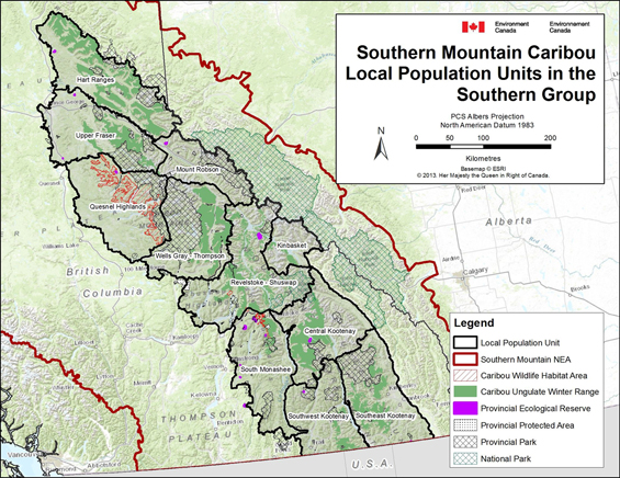 Figure B-3. Southern Mountain Caribou - Local Population Units in the Southern Group. (See long description below)