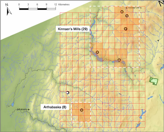 Series of seven maps providing details on the estimation of index of area of occupancy for Spring Salamander populations in Canada. Map 3