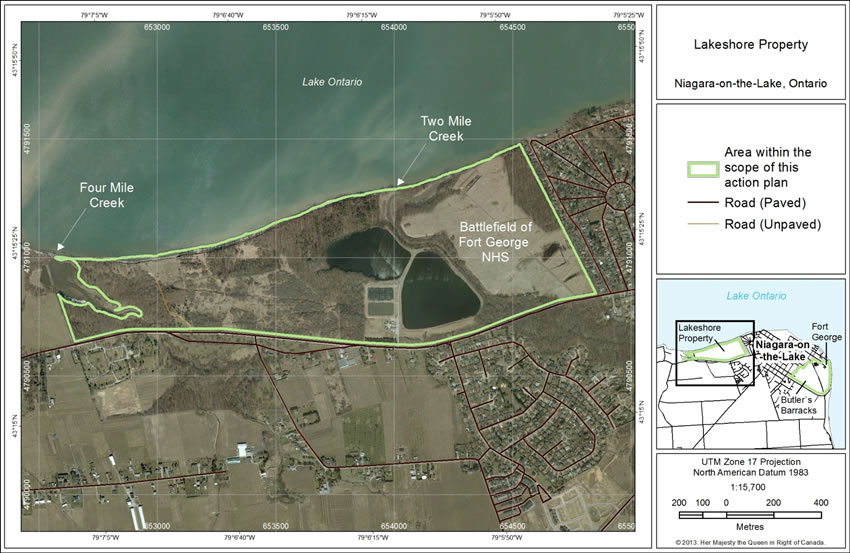 Figure 2. The Lakeshore Property included in the scope of this action plan that includes the Battlefield of Fort George National Historic Site.