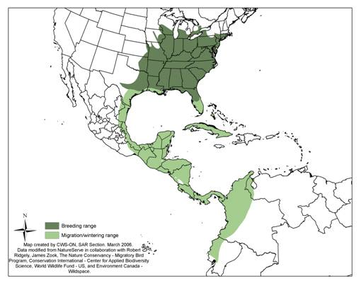 Figure 1 shows the range of the Acadian Flycatcher, differentiating breeding range from wintering range.