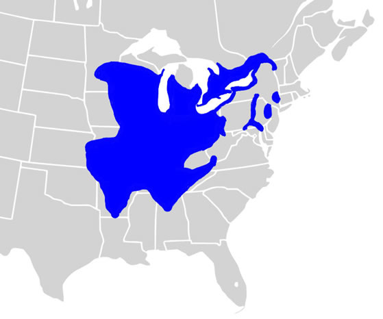 Map of the North American distribution of the Northern Map Turtle (see long description below).