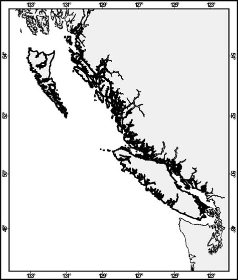 Map showing the Canadian distribution of the Northern Abalone.