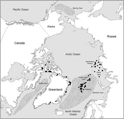 Map showing the colony locations (whether active or not) throughout the circumpolar arctic and wintering range of the Ivory Gull.