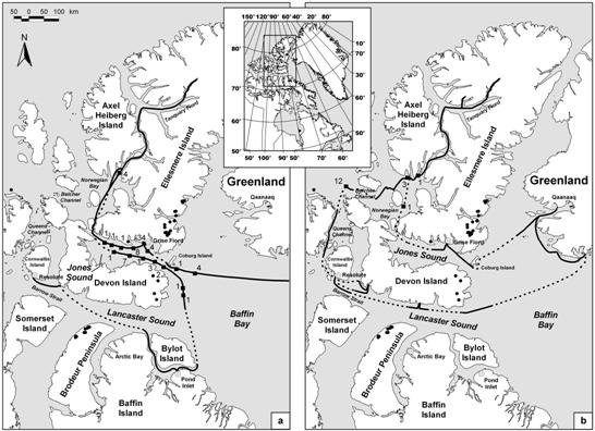 Map showing the route of the icebreaker Kapitan Khlebnikov 4-13 August 1993 and 16-29 August 2002 through the eastern high Arctic.