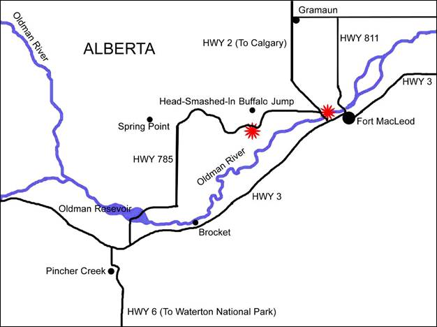 Map showing locations of Sanfilippodytes bertae captures in southern Alberta, Canada.