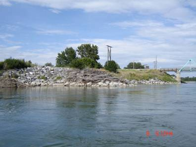 Photo of the south bank of the Oldman River, immediately east of the Highway 811 bridge (shown in background) on the east side of the town of Fort MacLeod. The photo shows mesh bank armouring, likely installed to protect the bank from natural erosion. The spring and seep habitat required by S. bertae is so small that such anthropogenic disturbances could completely destroy the habitat.