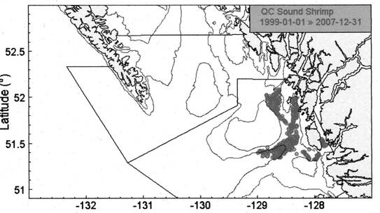 Map showing the location of tows conducted by the Queen Charlotte Sound shrimp survey from 1999 to 2007.