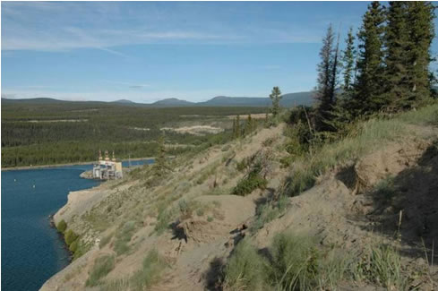 Photo of aeolian sand and dunes on top of  coarser sediments on Lookout Hill, at the north end of Schwatka  Lake reservoir, Whitehorse.