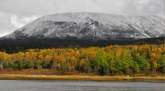 This photograph of Gros Morne Mountain was taken in mid-October. The sunlit shoreline and forest in the foreground are in golden fall colours, while Gros Morne Mountain looms in the background under overcast skies and covered with an early dusting of snow.
