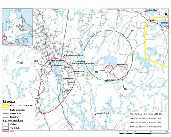 Cartographie des zones sensibles en lilen avec le caribou - Temiskaming First Nation.