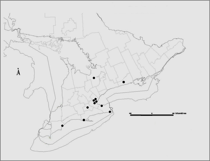 Localités approximatives des 12 sites du sud de l'Ontario
