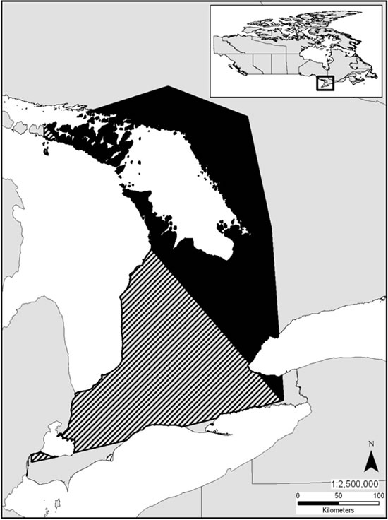 Map showing projected decline in the Canadian extent of occurrence of the Massasauga (see long description below).