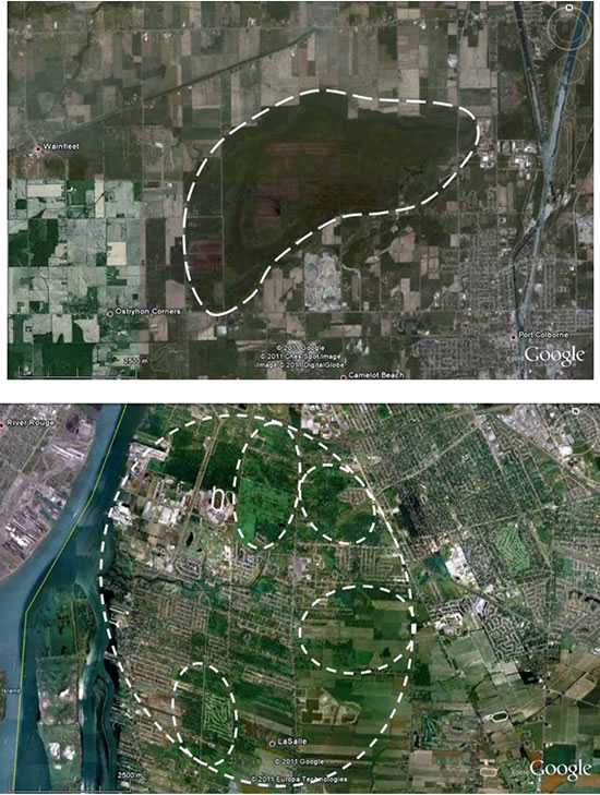 Two panels showing aerial images of Massasauga (see long description below).