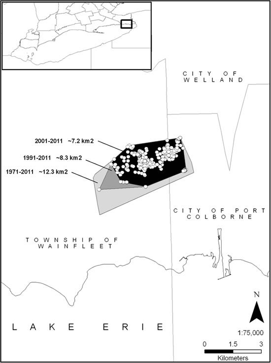 Map of the geographic extent of the Wainfleet Bog population of Massasauga (see long description below).