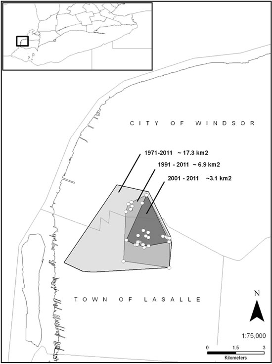 Map of the geographic extent of the Ojibway Prairie population of Massasauga (see long description below).