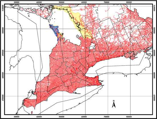 Map of relative road density and distribution of Massasauga (see long description below).