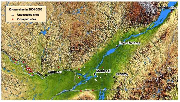 Ariel terrain map of south west Quebec