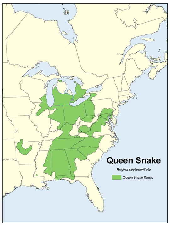 Queensnake North American Distribution Map