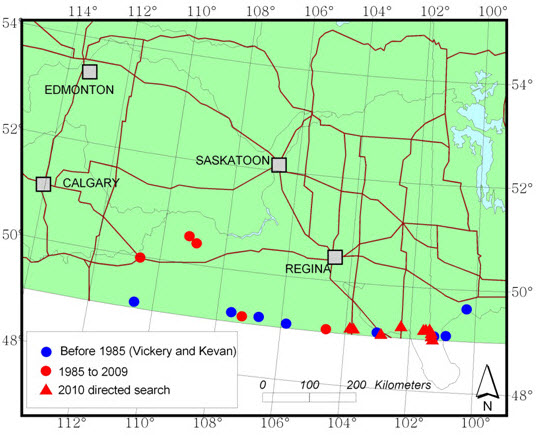 Map showing sites where the Greenish-white Grasshopper has been recorded in the southern Canadian Prairies, excepting sites near Winnipeg and Brandon (see long description below).