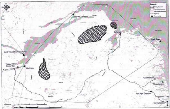 First of two maps identifying important wintering areas for boreal caribou.