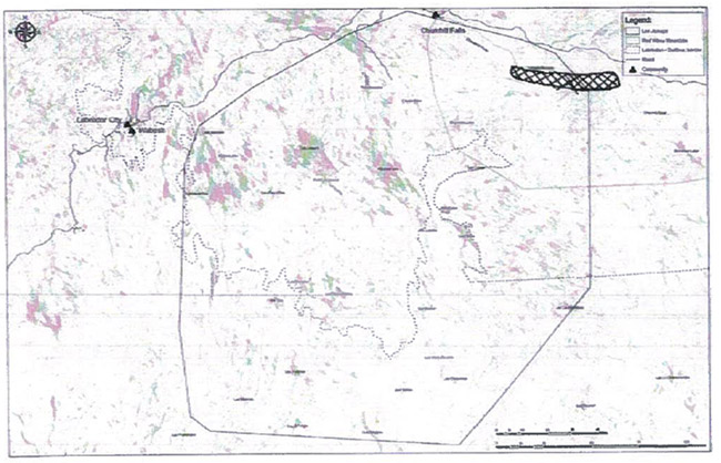 Second of the 2 maps displaying areas burned by forest fire within the last 50 years, and Labrador shown differs from first.