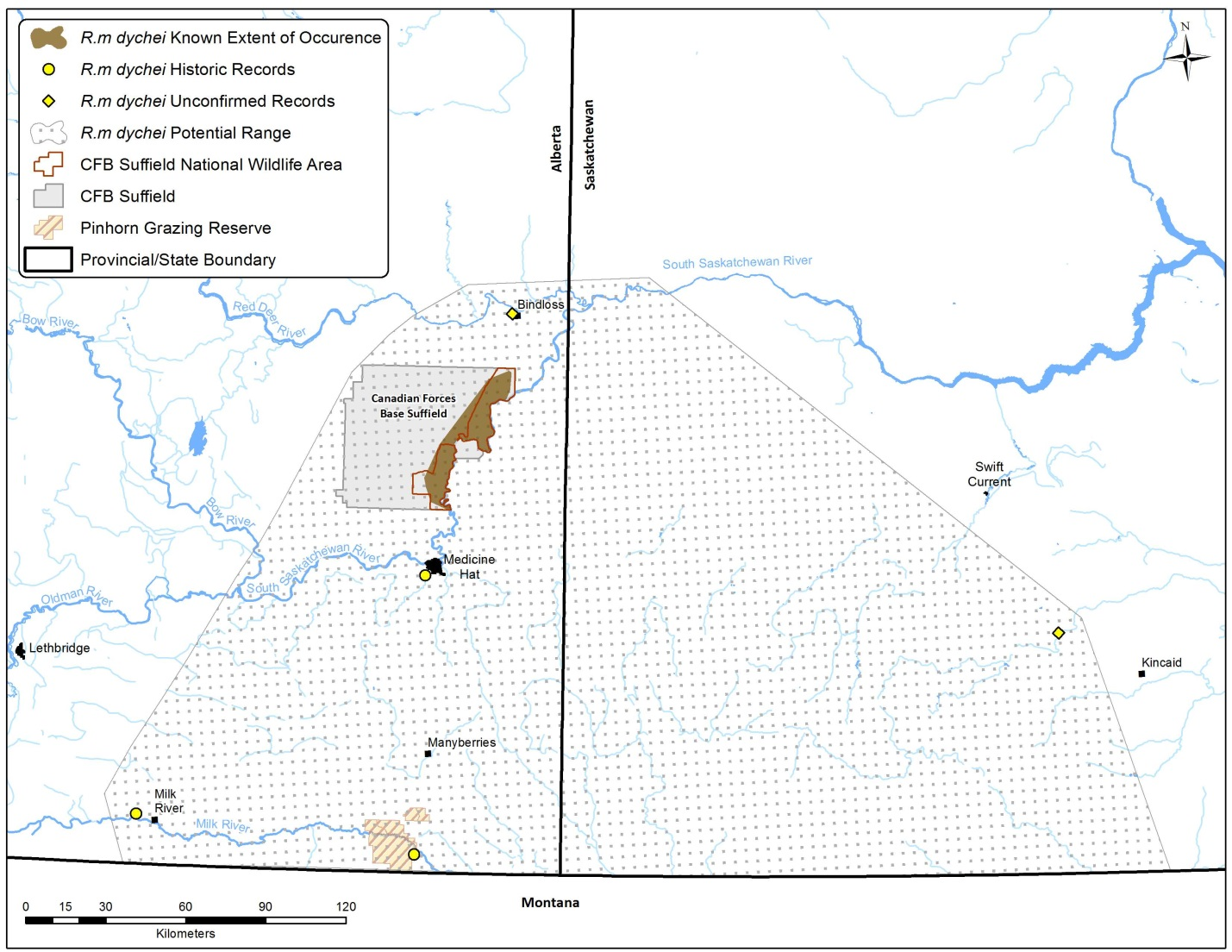 map: Sites in Alberta found along the South Saskatchewan River near the Canadian Forces Base Suffield.