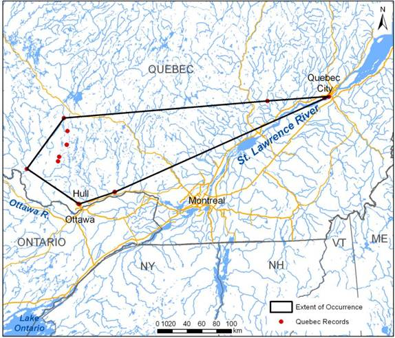 Map showing extent of occurrence (EO) of the Riverine Clubtail in Quebec.