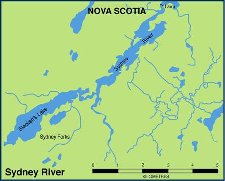 Figure 3. Sydney River, NS showing location of the Sydney River Dam, and Blacketts Lake, where most of the yellow lampmussel population is located