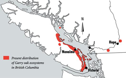 Map of the range of Garry Oak and associated ecosystems in British Columbia.