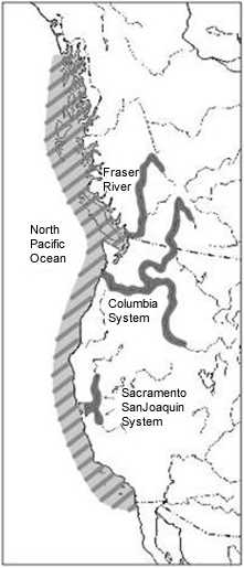 Map of the global distribution of the White Sturgeon (see long description below).