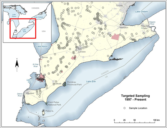 Map showing locations of targeted mussel sampling carried out from 1997 to 2011 within the range of the Threehorn Wartyback in Canada.