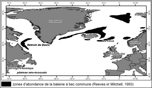 Figure 1. Aire de répartition mondiale de la baleine à bec commune. Source : Reeves et Mitchell, 1993.