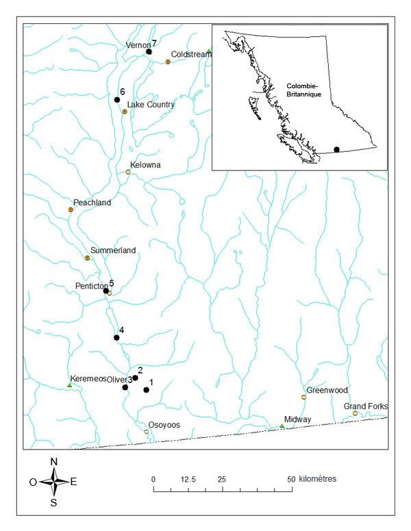 Map of Dark Saltflat Tiger Beetle distribution in British Columbia.