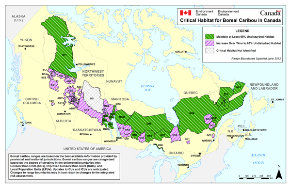 Map of Canada showing critical habitat for the 51 boreal caribou ranges. Critical habitat is identified for all boreal caribou ranges, except for northern Saskatchewan's Boreal Shield range (SK1). On this map, critical habitat for boreal caribou is represented by one of three categories for each range: maintain at least 65% undisturbed habitat (17 ranges), increase over time to 65% undisturbed habitat (33 ranges), or critical habitat not identified (one range). The range boundaries used in this map were updated in June 2012. Boreal caribou ranges are based on the best available information provided by provincial and territorial jurisdictions. Boreal caribou ranges are categorized based on the degree of certainty in the delineated boundaries into: Conservation Units (CUs), Improved Conservation Units (ICUs), and Local Population Units (LPUs). Updates to CUs and ICUs are anticipated. Changes to range boundaries may in turn result in changes to the integrated risk assessment.