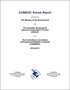 Cover page of the publication: COSEWIC Annual Report – 2012-2013