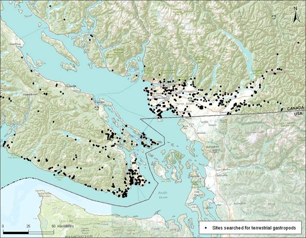Map showing locations of searches for terrestrial snails within and adjacent to the known range of the Oregon Forestsnail and Puget Oregonian on southern Vancouver Island and mainland British Columbia (coastal areas and Fraser Valley).